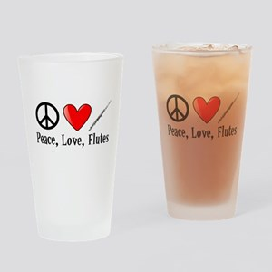 Peace, Love, Flutes Drinking Glass
