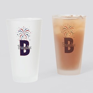 4th of July Personalized initial B Drinking Glass