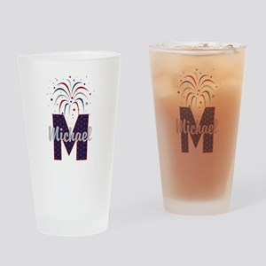 4th of July Fireworks letter M Drinking Glass