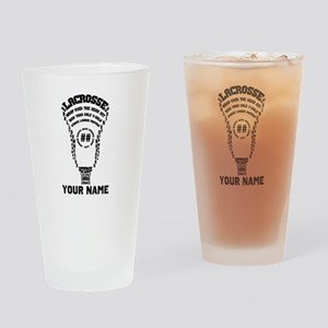 Lacrosse Defense Head Custom Drinking Glass