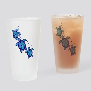 Blue Hibiscus Honu Turtles Drinking Glass