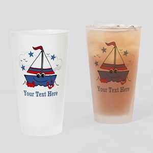 Cute Little Sailboat Personalized Drinking Glass