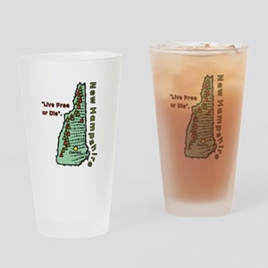 New Hampshire - Live Free or Die Drinking Glass