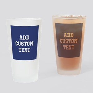 Custom Sports Text Blue White Drinking Glass