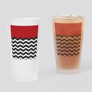 Red Black and white Chevron Drinking Glass