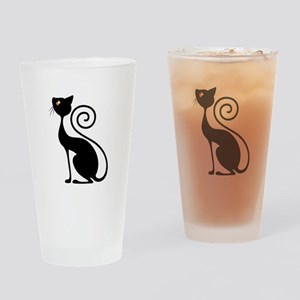 Black Cat Vintage Style Design Drinking Glass
