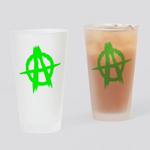 Anarchy Symbol Green Drinking Glass
