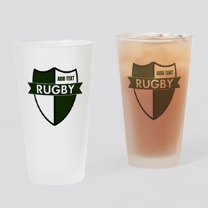 Rugby Shield White Green Drinking Glass