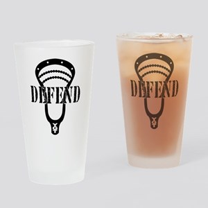 Lacrosse Defend Head Black Drinking Glass