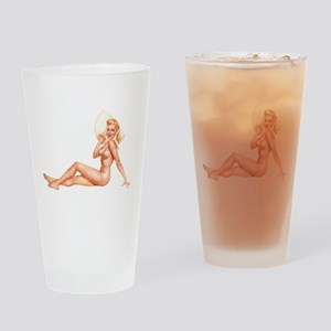Summer Swimsuit Blonde Pin Up Girl Drinking Glass