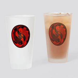 Black and Red Yin Yang Koi Fish Drinking Glass