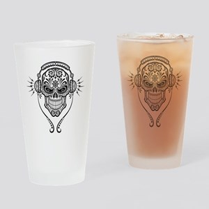 DJ Sugar Skull Drinking Glass