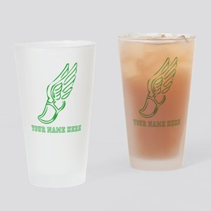 Custom Green Running Shoe With Wings Drinking Glas