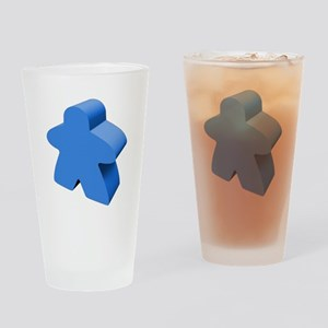 Blue Meeple Drinking Glass
