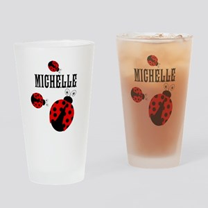 Cute Red | Black Ladybugs Name Drinking Glass