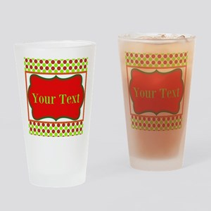 Personalizable Red and Green Polka Dots Drinking G