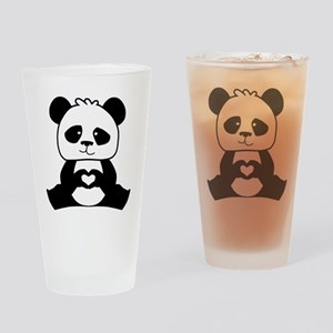 Panda's hands showing love Drinking Glass