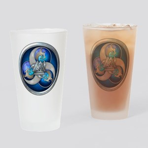 Blue Norse Triple Dragons Drinking Glass