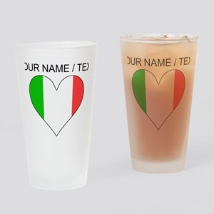 Custom Italy Flag Heart Drinking Glass
