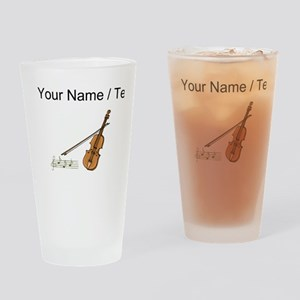 Custom Violin And Musical Notes Drinking Glass