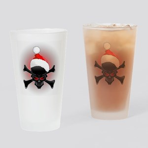 Christmas Santa Black Skull Drinking Glass