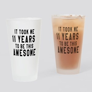 11 Years Birthday Designs Drinking Glass