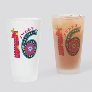Blooming Sweet 16 Drinking Glass