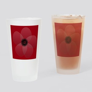 Bright Red Floral Drinking Glass