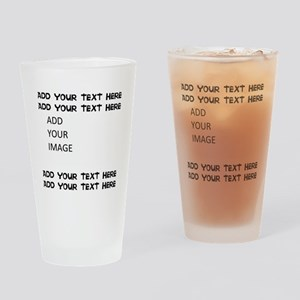 Custom Text and Image Drinking Glass