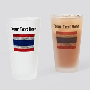Distressed Thailand Flag (Custom) Drinking Glass