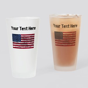 Distressed United States Flag (Custom) Drinking Gl