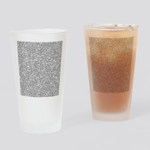 Silver Gray Glitter Texture Drinking Glass