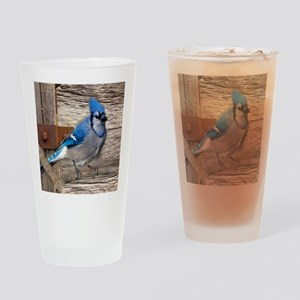 rustic barn wood blue jay Drinking Glass