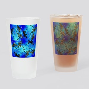 Dragonfly Flit Electric Blue Drinking Glass