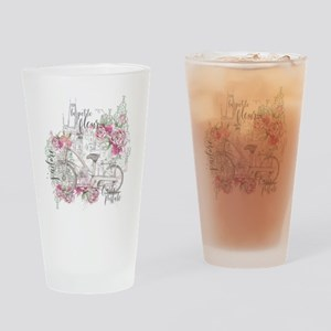 Shabby Chic Bicycle Peony Drinking Glass