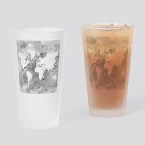 Design 49 World Map Grayscale Drinking Glass