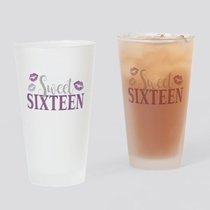 Sweet Sixteen 16 Birthday Glitter L Drinking Glass