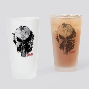 Punisher Skull Black Smudge Drinking Glass