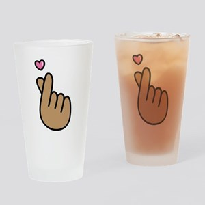Finger Heart Sign Drinking Glass