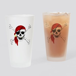 Pirate Skull and Bones, Red Bandann Drinking Glass