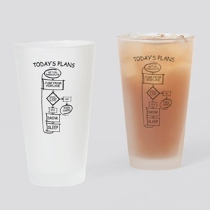 Skydiving Flow Chart Humor Drinking Glass