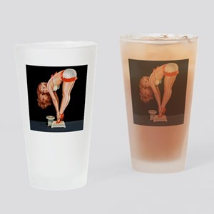 Pin-Up Girl on a Scale; Vintage Pos Drinking Glass