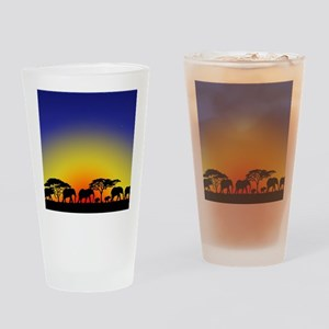 Elephant Crossing Drinking Glass
