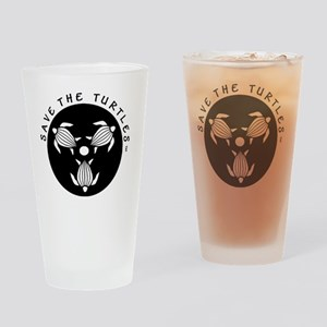 SAVE THE TURTLES BLACK LOGO DESIGN Drinking Glass