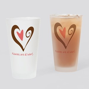 2-MidwivesHeartBrown Drinking Glass