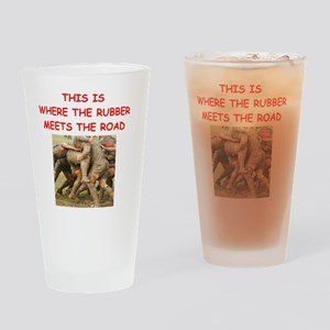 rugby joke Drinking Glass