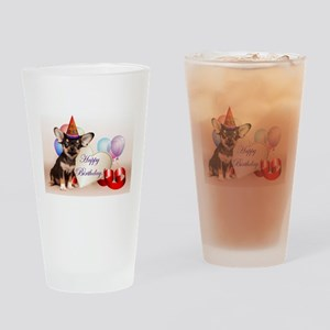 Happy Birthday Chihuahua dog Drinking Glass