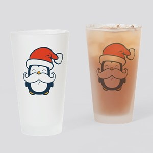 Christmas Penguin Mustache Trend Drinking Glass