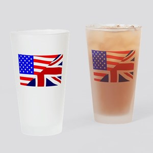 USA and UK Flags Drinking Glass