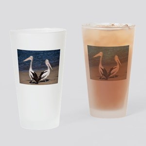 Two Pelicans on a Beach Drinking Glass